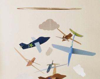 Airplane Mobile - nursery mobile, boys mobile, baby mobile, custom color mobile, blue and brown, plane mobile