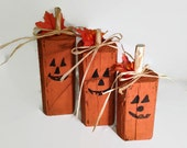 Wood Pumpkins -Rustic Halloween Decor - Reclaimed Wood - Hand Painted Pumpkins - Primitive Halloween - Wooden Pumpkins - Punkins - Pumkins