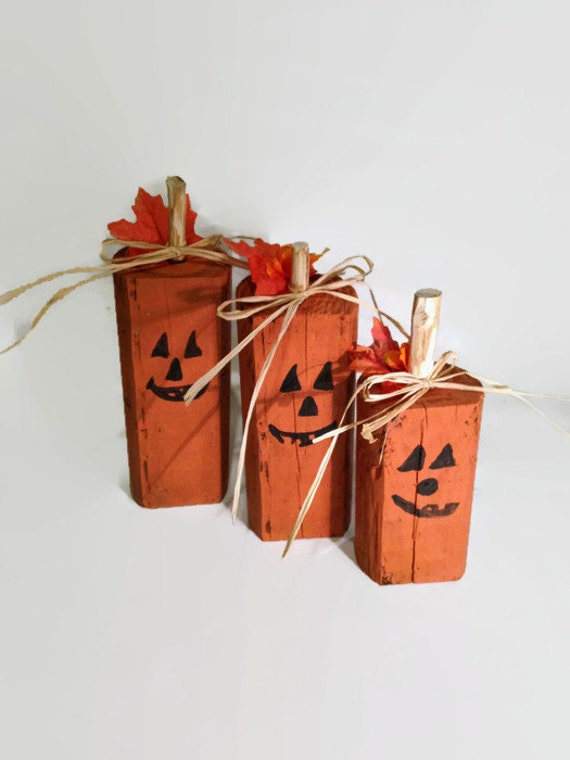 wood pumpkins rustic halloween decor pumpkin decor reclaimed wood hand painted pumpkins primitive halloween wooden pumpkins fall - Wooden Halloween Decorations