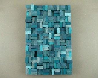 teal wood slice art sculpture, modern office decor, turquoise décor, hanging wood art, wooden wall sculpture, teal wall art, abstract wall