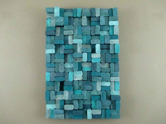 teal wall art teal wood slice sculpture modern office decor turquoise 11185