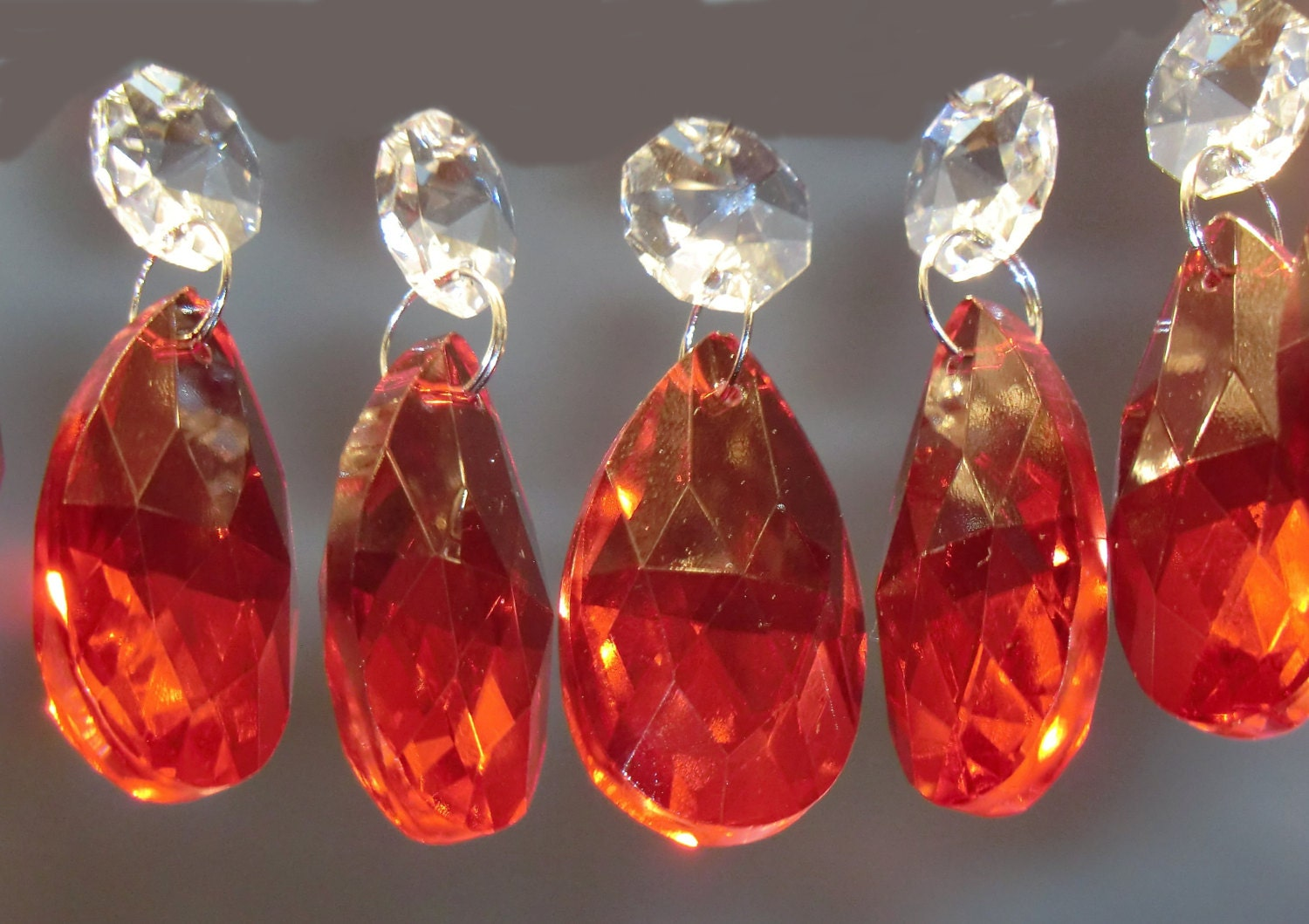 5 Red Chandelier Drops Glass Crystals Shabby Droplets Chic Almond ...