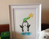 Original nursery art- penguin and turtle reach for the stars.