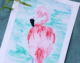 Pretty Pink Flamingo Watercolor Art Print   Flamingo art   Home decor  Nursery art   Wall art   8x10   11x14   13x19