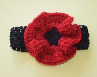 Red Poppy Crochet Headband
