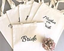Custom tote bags-Tote bag- Bridal party tote bag bundle- Bridesmaid thank you gift