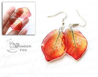 Transparent Earrings - Green and Orange Leaves - Nature Jewelry - Color Leaf - Resin Jewelry - Resin Earrings