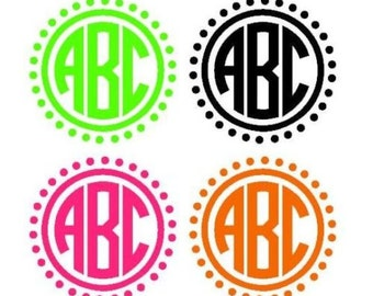 Personalized vinyl Circle Monogram decal Sticker