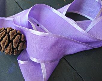 Textured Lavender Ribbon with Satin Stripe Edges