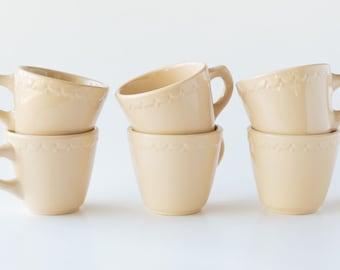 6 Syracuse China Econo Rim Coffee Cups - Tan / Adobe Color - Vintage Coffee Cup - Restaurantware - Econo-Rim