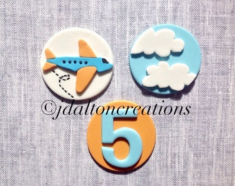 12 Airplane Fondant Toppers