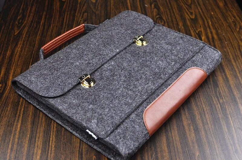 Leather handbag mens leather briefcase macbook pro case for Housse macbook pro retina