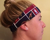 workout yoga headband - Cleveland Cavaliers basketball themed fabric reversible dark blue solid - secure fit elastic back