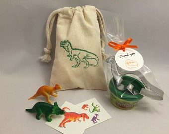 Dinosaur Party Favor: Dinosaur Party Bag filled with Play Doh and Dinosaur Cutter, Tattoos and Dino Toys