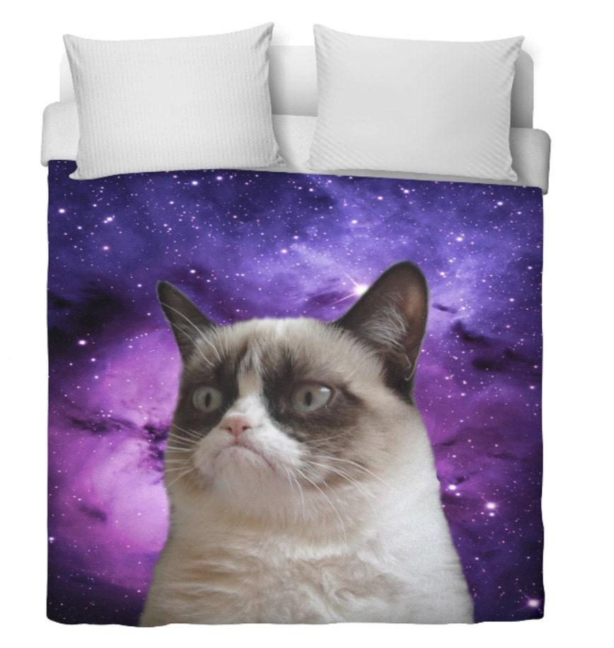 Space Cat Duvet Cover Grumpy Cat Edition Purple Duvet