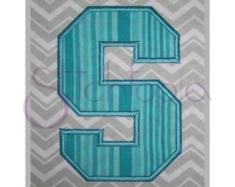 """Sports Applique Monogram Set - 5"""", 6"""", 7"""" - Letters & Numbers Machine Embroidery Font Alphabet Letters Varsity College Block Applique Font"""