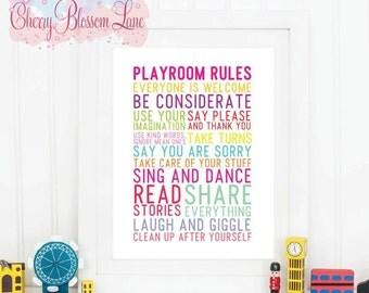 Digital Wall Art Print - Playroom Rules