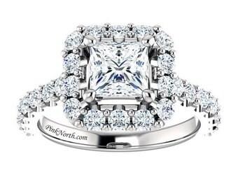 Princess Cut Halo Engagement Rings - 2.10ctw - Princess Cut Forever Brilliant Moissanite and Genuine Diamonds -