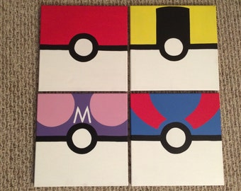 Sale READY TO SHIP Pokemon Pokeball Pocket Monsters Hand Painted Canvas Paintings Set of 4