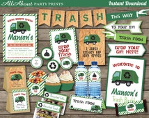 PDF format-Instant Download- Garbage-Trash Party-Bash Pack Printables- Personal Use only