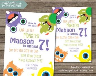 Monster Birthday Party Invitation Printable- Invitatation Printable
