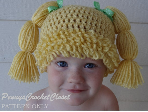 Crochet Pattern Cabbage Patch Hat ~ manet for .