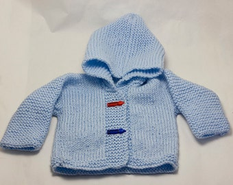 Hand Knitted Baby Hoodie Cardigan/Jacket in blue, Duffel Coat