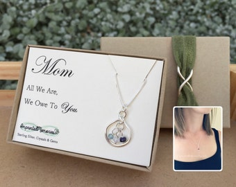 Mom Gift for mom necklace - sterling silver gemstone birthstone necklace for mom jewery - mom gift from kids birthstones mom christmas gift
