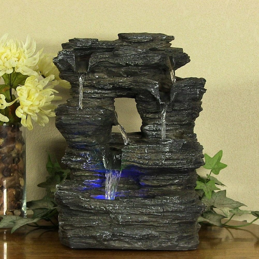 Home Decor Fountain: Indoor Home Decor Tabletop Falls Rock Water Fountain By