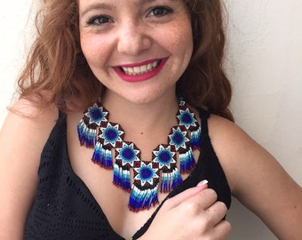 Blue Rey ADELA beaded necklace whit bracelet handmade by Mexican Huichol / wixarikas artisans