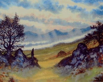 Preseli Autumn, the ridge. The Preseli Hills, Mountains signed and numbered print by Andrew Bailey. Pembrokeshire landscapes, seascapes.