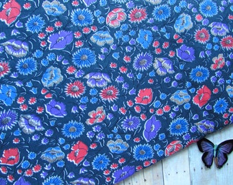 Bohemian Floral Print Fabric - Black with Red Purple Blue - Over 2 Yards