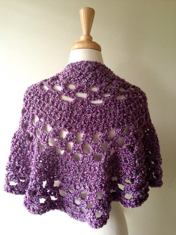 Crochet Pattern Half Circle Shawl : Items similar to purple crochet shawl, circle shawl ...