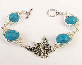 """wire wrapped bracelet,FREE SHIPPING,for gift,wire wrapping,plated wire,howlite beads bracelet,bySHINE""""Turquoise Butterfly""""magic braceletelet"""