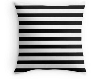 Black and White Stripe Pillow, Black White Decorative Pillow, Black Pillow, Black and White Stripe Toss Pillow, Black and White Decor