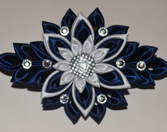 Handmade Girl's/Ladies French Barrette Hair Clip, Kanzashi Style, Navy&White, School