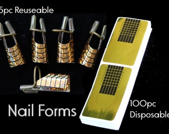 100pc/5pc Nail form stickers disposable reuseable nail art manicure acrylic gel uv tip extension tool