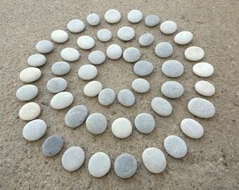 50 Beach Pebbles, Beach Stones, Grey Stones, Flat Stones, Grey Pebbles,  Small Stones, Stone Buttons, Smooth Pebbles, Sea Stones