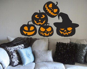 Pumpkin, Jack o lantern, Wall Decals, Set of 5, Scary Halloween Decoration