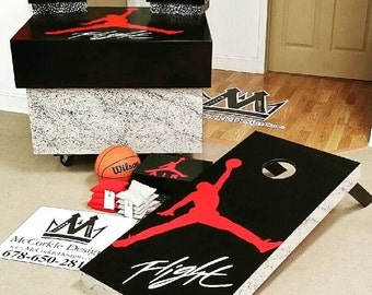 Air Jordan  shoe box & Cornhole boards bundle  package !