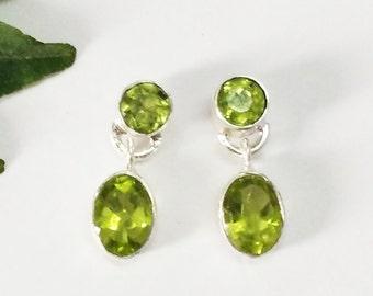 Genuine NATURAL PERIDOT Gemstone Earrings, Birthstone Earrings, 925 Sterling Silver Earrings, Fashion Handmade Earrings, Drop Earrings