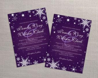 DIY Printable Wedding Invitation Card Template | Editable MS Word file | 5 x 7 | Instant Download | Winter White Snowflakes Dark Purple