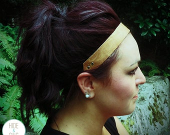 Boho Leather Headband- Light Brown Distressed Cowhide