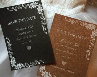Rustic, Shabby Chic, Save The Date Cards-25 Cards