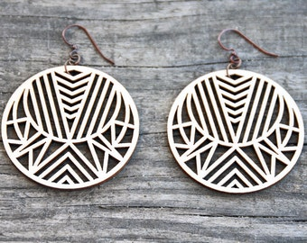 Circular Geometric Laser Cut Wood Earrings