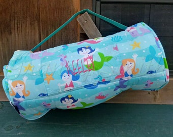 Mermaid rest nap mat roll with pillow + blanket attached. Monogram. Customize. Personalize. Preschool or daycare item. Sleeping bag. Gift