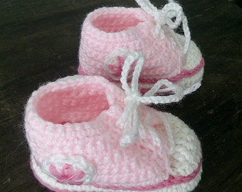 Pink and White Crochet Baby Booties, Baby Sneakers, Converse Style Baby Booties