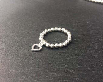 Sterling Silver Open Heart Charm Stretch Ring