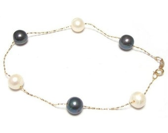 "7"" 6-7mm Genuine Black And White Pearl 14K Gold Chain Bracelet"