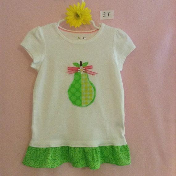 Custom Toddler girl's pear or apple appliqué ruffled tops